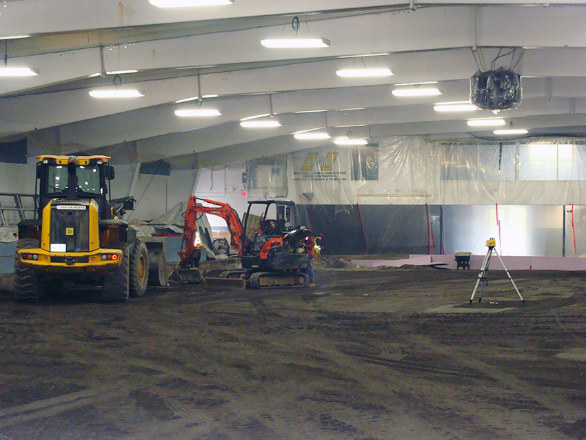 rink floor under construction